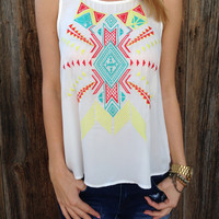 Aztec Embroidered Tank - FINAL SALE