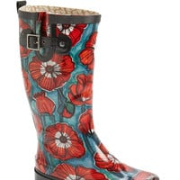 'Watercolor Poppy' Rain Boot (Women)