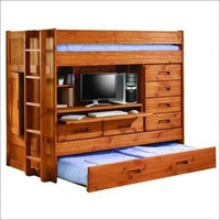 Twin Loft Bunk Bed w/ Trundle Bed, Rear Closet, Desk and lots of storage