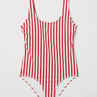 Swimsuit - Red/white striped - Ladies | H&M US