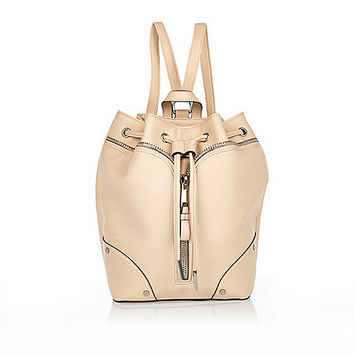 River Island Womens Beige leather-look drawstring backpack
