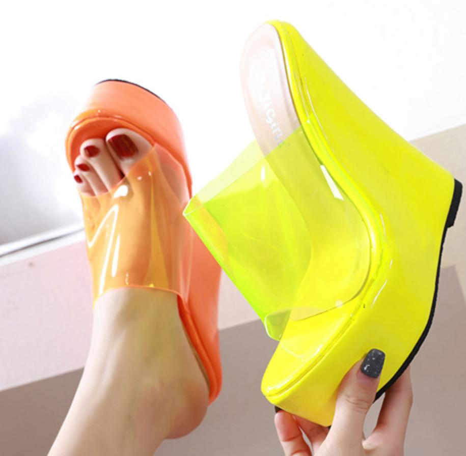 Image of Hot style popular and contracted comfortable joker follows slipper with slope