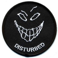 """Embroidered Iron On Patch - Disturbed Smiley Face 3"""" Biker Patch"""