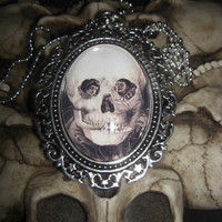 Lamour De Pierrot, 1905 Skull Illusion 30x40mm Glass Cabochon Cameo Necklace from Cognitive Fashioned