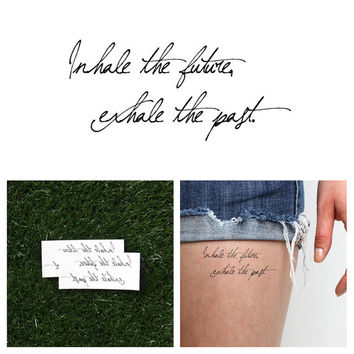 Inhale/ Exhale  Temporary Tattoo Quote Set of 2 by Tattify on Etsy