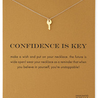 14K Gold Plated Sparkling Confidence Key Necklace