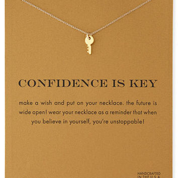 Buy One Get One Free -18k Gold Dipped Key Pendant Necklace with Card