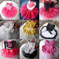 Cute Pet Dog Tutu Dress Lace Skirt Cat Princess Clothes Party Dress 9 Style XS-L