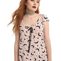 Pink Moon Star Ruffle Girls Top