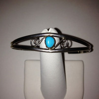 Navajo Turquoise Sterling Cuff Bracelet 925 Silver Blue Vintage Tribal Southwestern Jewelry Birthday Mother's Anniversary Gift Boho USA