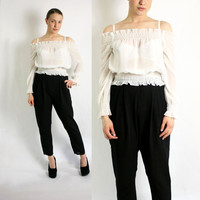 Vintage 90's White Mesh Sheer Off Shoulder Blouse Top -Small