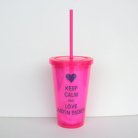 Personalized Keep Calm and Love Justin Bieber by RayneEDayCrafts