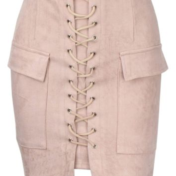 Kora Suede Laced Up Mini Skirt - More Colors