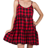 Checkered Tiered Dress