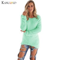 2017 Autumn Winter Womens Warm Casual 8 Color Long Sleeve Jumper Sweaters Blouse Lady Fashion O-Neck Loose Hair Outwear Oct20