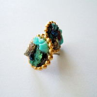 Turquoise Cluster Stud Earrings - With Accents of Peacock Ore and Shimmery Pyrite Minerals