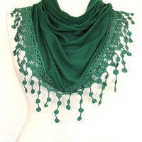 ON SALE Dark Green Cotton Scarf / Shawl With Fringed Lace, Fashion, Women, Gift, Summer