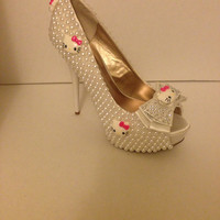 Hello Kitty Statement Shoes Made With Pearls by WildCageDesigns