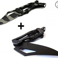 2 Pcs x S.R. Transformer Military Tactical Mechanical Folding Knife Best Buy, Best Choice for Survival, Walking, Sailing, Craft, Gardening or Camping Gear