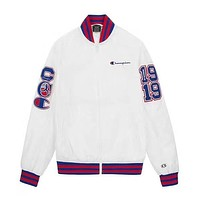 Champion New fashion letter print couple long sleeve top coat White