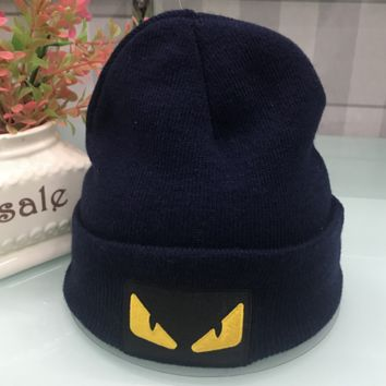 Fendi Autumn and winter new fashion knit letter hat embroidery cap Navy blue