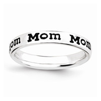 Sterling Silver Stackable Expressions Polished Enameled Mom Ring: RingSize: 5