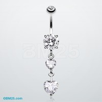 Elegant Double Hearts Belly Button Ring
