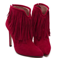 Fashion Pointed High-Heel Tassel Ankle Boots