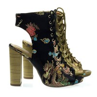Brobe Black Oriental Embroidery Feather Stitching Lace Up, Block Heel Bootie Sandal