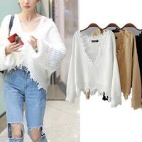 Women's sweaters 2017 autumn new V-neck sweater Long Sleeve Tees Knitted Sweater pullover fringed leisure Loose Crop Top Women's Knits