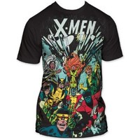 MARVEL XMEN -- THE GANG -- BIG PRINT MENS SUBWAY FITTED TEE