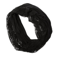 Black Jersey and Lace Infinity Scarf