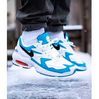 Bunchsun NIKE AIR MAX2 LIGHT Trending Men Casual Air Cushion Sport Running Shoes Sneakers White&Blue