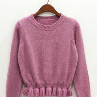 Long Sleeve Ruffled Bottom Rabbit Fur Knit Sweater