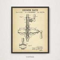 Bathroom Patent, Shower Bath Patent Art Printable, Bathroom Wall Art, Bathroom Decor, Bathroom Prints, Shower Bath Art, Digital Download