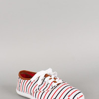 Wild Diva Lounge Canvas Striped Bow Lace Up Sneaker Color: White, Size: 7