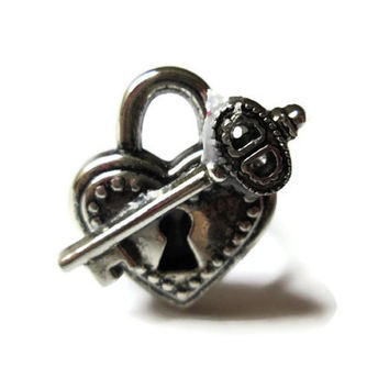 Heart Lock and Key Ring, Acrylic, Adjustable Silver Toned Metal Band