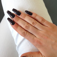 Kylie Jenner inspired purple grey press-on nails, fake nails, false nails, faux nails, acrylic nails, hand-painted nail set