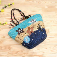 WORTHFIND Summer Straw Beach Bags Weave Woven Shoulder Tote Shopping  Purse Handbag For Travel