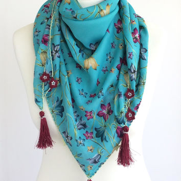Turquoise Scarf, Fringed Scarf, Boho Beach Coverup, Floral Cotton Scarf, Turkish Square Scarf, Summer Pareo, Boho Tassel Scarf, Women's Gift