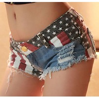 Ladies American Flag Mini Jeans Denim Shorts