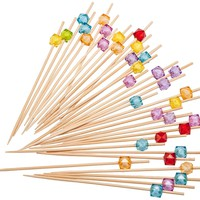 PuTwo Cocktail Toothpicks 300 Counts Cocktail Picks Handmade Natural Bamboo Cocktail Sticks with Cube Beads End Eco-Friendly Appetizer Skewers for Cocktail Appetizers Fruits Dessert - Multicolor