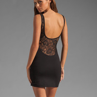 Lovers + Friends Make Up Mini Dress in Black with Black Lace