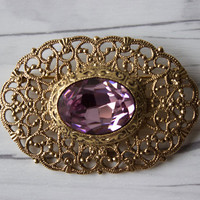 Vintage Gold Toned and Purple Rhinestone Brooch Pin | Art Nouveau Style | Costume Jewelry