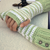 mint and white crochet button wrist warmers, arm warmers, fingerless gloves mittens in a longer size