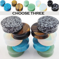 Semi Precious Stone Saddle Ear Plugs Gauges 3 PAIRS! Opalite Jade Turquoise MORE