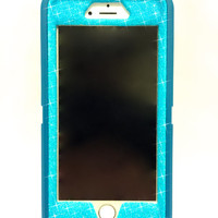 iPhone 6 (4.7 inch) OtterBox Defender Series Case Glitter Cute Sparkly Bling Defender Series Custom Case  teal / blueberry slush
