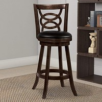 """29"""" Swivel Bar Stool With Upholstered Seat, Black And Brown ,Set Of 2"""