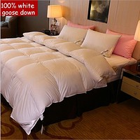 5-star hotel quality 100% Goose Down Luxury white comforter king queen twin size quilt duvet bedclothes blanket bedding cover