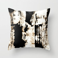 Indoor pillow with double side print of abstract ink art plus simulated rusty effect
